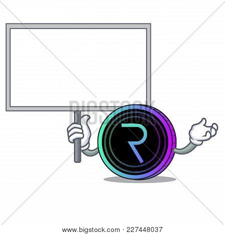 Bring Board Request Network Coin Character Cartoon Vector Illustration