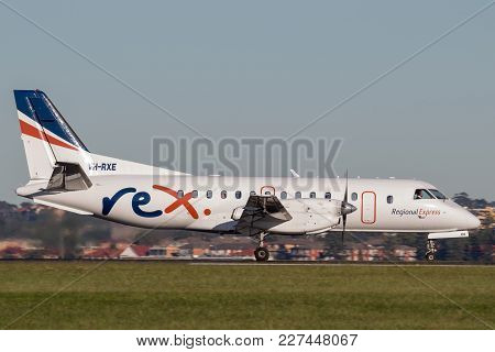 Sydney, Australia - May 5, 2014: Rex (regional Express Airlines) Saab 340 Twin Engined Regional Comm