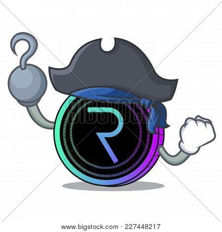 Pirate Request Network Coin Character Cartoon Vector Illustration