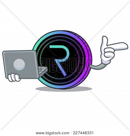 With Laptop Request Network Coin Character Cartoon Vector Illustration