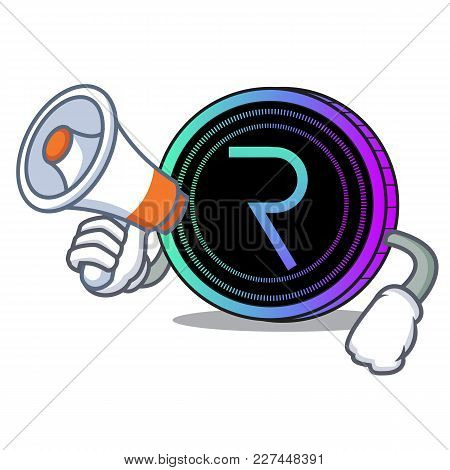 With Megaphone Request Network Coin Character Cartoon Vector Illustration