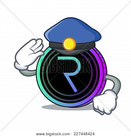 Police Request Network Coin Character Cartoon Vector Illustration