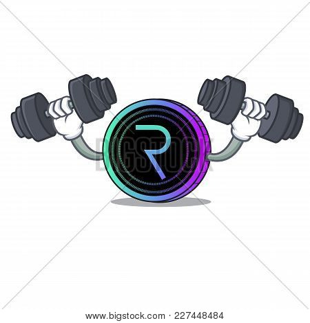 Fitness Request Network Coin Character Cartoon Vector Illustration