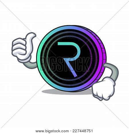Thumbs Up Request Network Coin Character Cartoon Vector Illustration