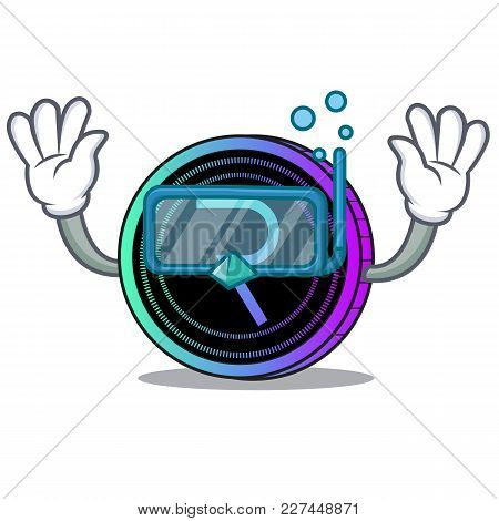 Diving Request Network Coin Character Cartoon Vector Illustration