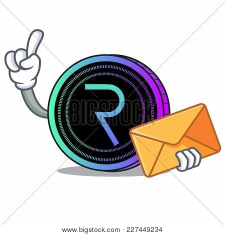 With Envelope Request Network Coin Character Cartoon Vector Illustration