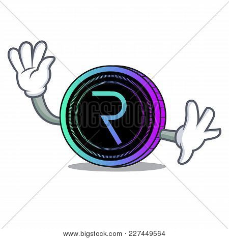 Waving Request Network Coin Character Cartoon Vector Illustration