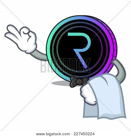 Waiter Request Network Coin Mascot Cartoon Vector Illustration