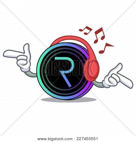 Listening Music Request Network Coin Mascot Cartoon Vector Illustration
