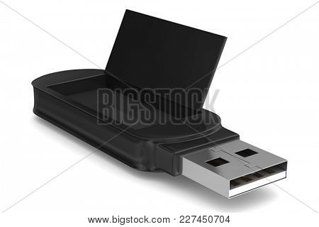 usb flash drive on white background. Isolated 3D illustration