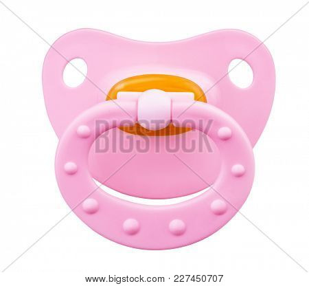 Pink orthodontic pacifier isolated on a white