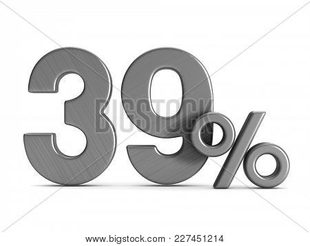 thirty nine percent on white background. Isolated 3D illustration
