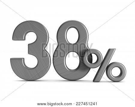 thirty eight percent on white background. Isolated 3D illustration