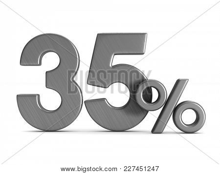 thirty five percent on white background. Isolated 3D illustration