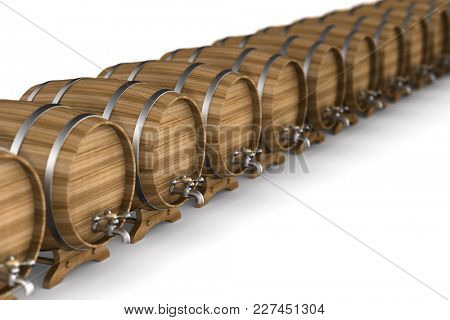 Row wooden barrel on white background. Isolated 3D illustration