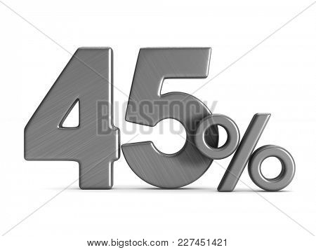 forty five percent on white background. Isolated 3D illustration