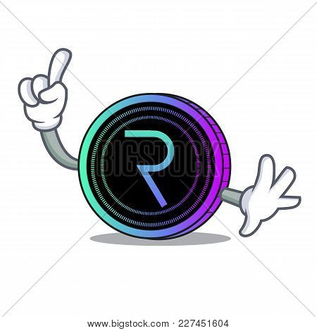 Finger Request Network Coin Mascot Cartoon Vector Illustration