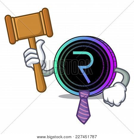 Judge Request Network Coin Mascot Cartoon Vector Illustration