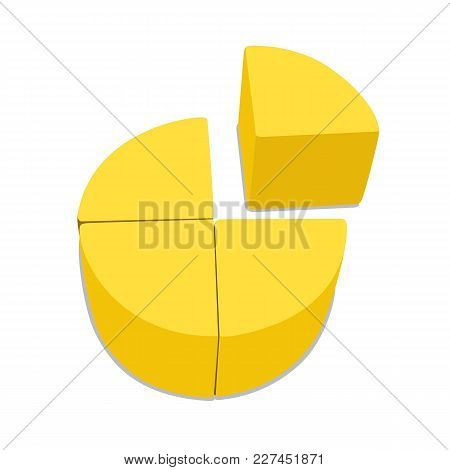 Fraction 3d. Circle Yellow Block. Vector Illustration Isolated On White Background.