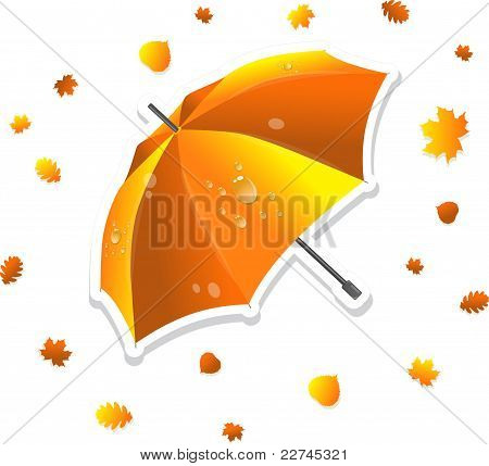 Open umbrella and swirling leaves, vector illustration