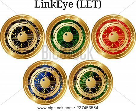 Set Of Physical Golden Coin Linkeye (let), Digital Cryptocurrency. Linkeye (let) Icon Set. Vector Il