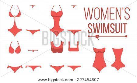 Swimsuit Design Set Vector. Fashion Bikini. Summer Beach Clothing Underwear. Female Stylish Swimwear