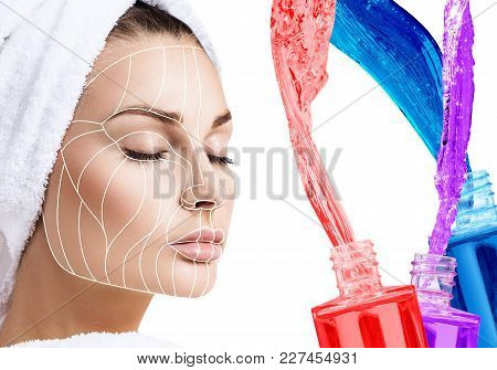 Young Female Face With Facelift Lines Near Colorful Bottles With Tonic. Graphic Lines Showing Facial
