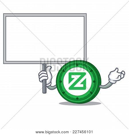 Bring Board Zcoin Character Cartoon Style Vector Illustration