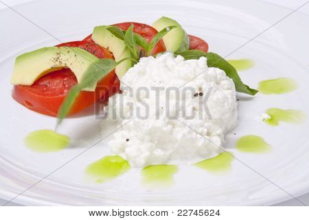 Cottagge Cheese With Tomato And Avocado