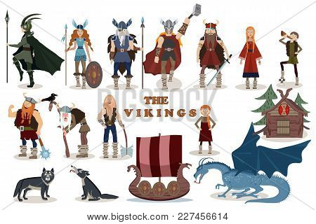 The Vikings. Viking Cartoon Characters. Valkyrie, Berserker, Warrior, Old Man, God Odin, God Thor, D