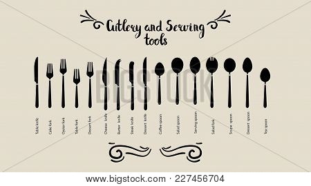 Set Of Cutlery And Servant Tools. Spoon Fork And Knife Are Placed. Tableware, Top View. Vector Illus