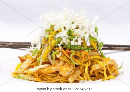 Korean Food Egg Noodle Fried With Prawn