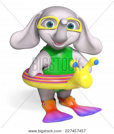 Baby Elephant Cartoon With Lifeline And Flippers, Isolated 3d Rendering