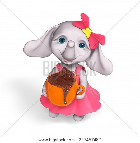 Funny Character Elephant Baby Girl Cartoon Holding Cup Of Melting Bar Of Chocolate Isolated Over Whi