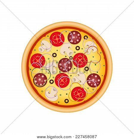 Pizza With Mushrooms, Salami, Tomato And Sausage. Illustration For Advertisement, Web Sites, Flyer,