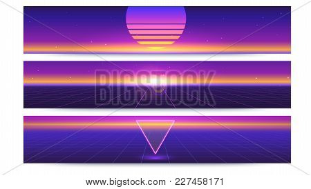 Sci Fi Abstract Long Horizontal Banners With The Sun On The Horizon. Retro Gradient, Vintage Style O