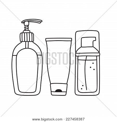 Set Of Toiletries - Liquid Soap, Cream And Facial Wash In Dispenser Bottles And Tube, Line Drawing,