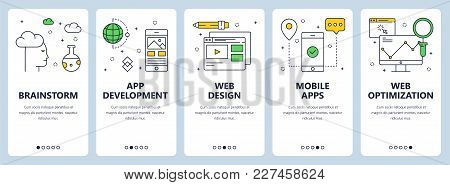 Vector Set Of Vertical Banners With Brainstorm, App Development, Web Design, Mobile Apps, Web Optimi