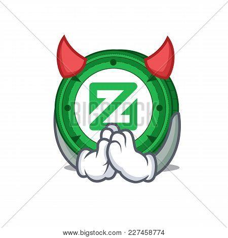 Devil Zcoin Mascot Cartoon Style Vector Illustration