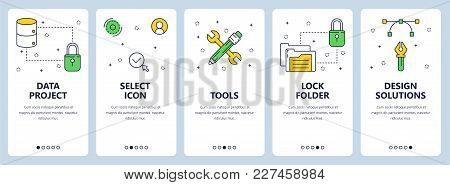 Vector Set Of Vertical Banners With Data Project, Select Icons, Tools, Lock Folder, Design Solutions