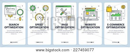 Vector Set Of Vertical Website Banners. Search Optimization And Speed, Page, Website And E-commerce