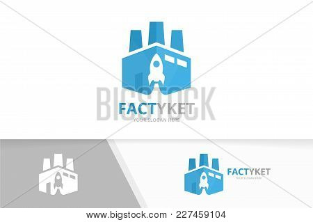 Vector Factory And Rocket Logo Combination. Industry And Airplane Symbol Or Icon. Unique Manufacturi