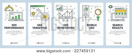 Vector Set Of Vertical Banners With Seo Performance, Seo Targeting, Seo Monitoring, Mobile Seo And S