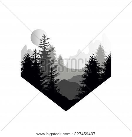 Beautiful Nature Landscape With Silhouette Of Coniferous Forest, Mountains And Sun, Natural Scene Ic