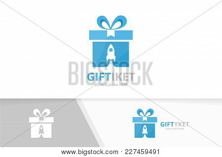 Vector Gift And Rocket Logo Combination. Present And Airplane Symbol Or Icon. Unique Surprise And Fl