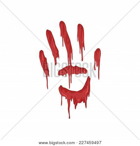 Bloody Handprint With Streaks Vector Illustration Isolated On A White Background.
