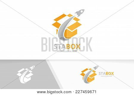 Vector Box And Rocket Logo Combination. Package And Airplane Symbol Or Icon. Unique Delivery And Fli