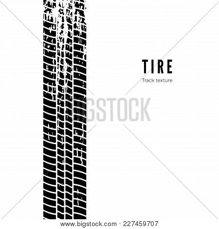 Tire Track Impression. Black Tire Texture. Vector Illustration Isolated On White Background