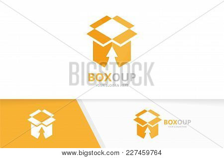 Vector Box And Arrow Up Logo Combination. Package And Growth Symbol Or Icon. Unique Delivery And Upl