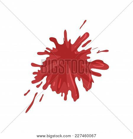 Blood Splatter And Drops, Splash Of Red Ink Vector Illustration Isolated On A White Background.
